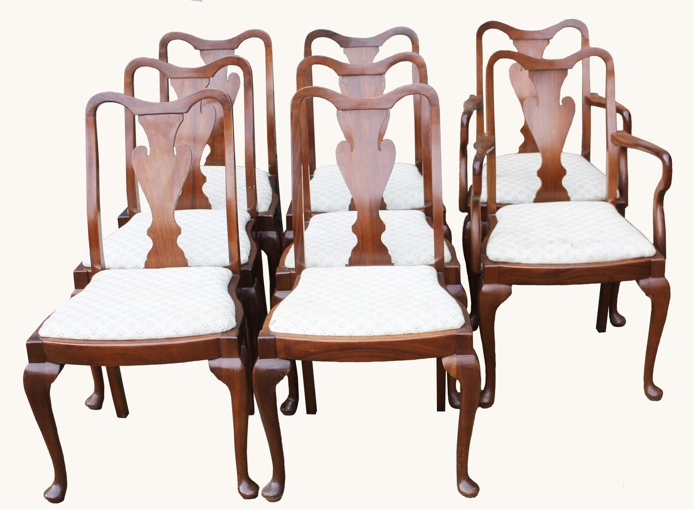 A Set of Walnut Queen Anne Style Dining Chairs – Hogarths Gallery