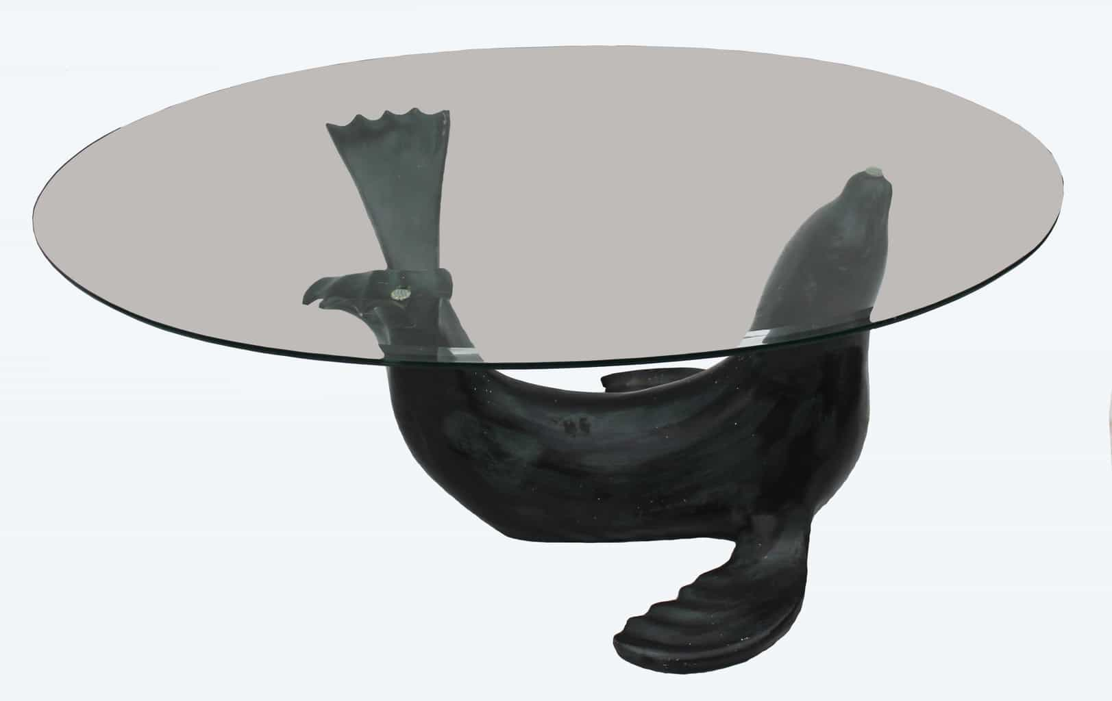 An Unusual Seal And Glass Coffee Table