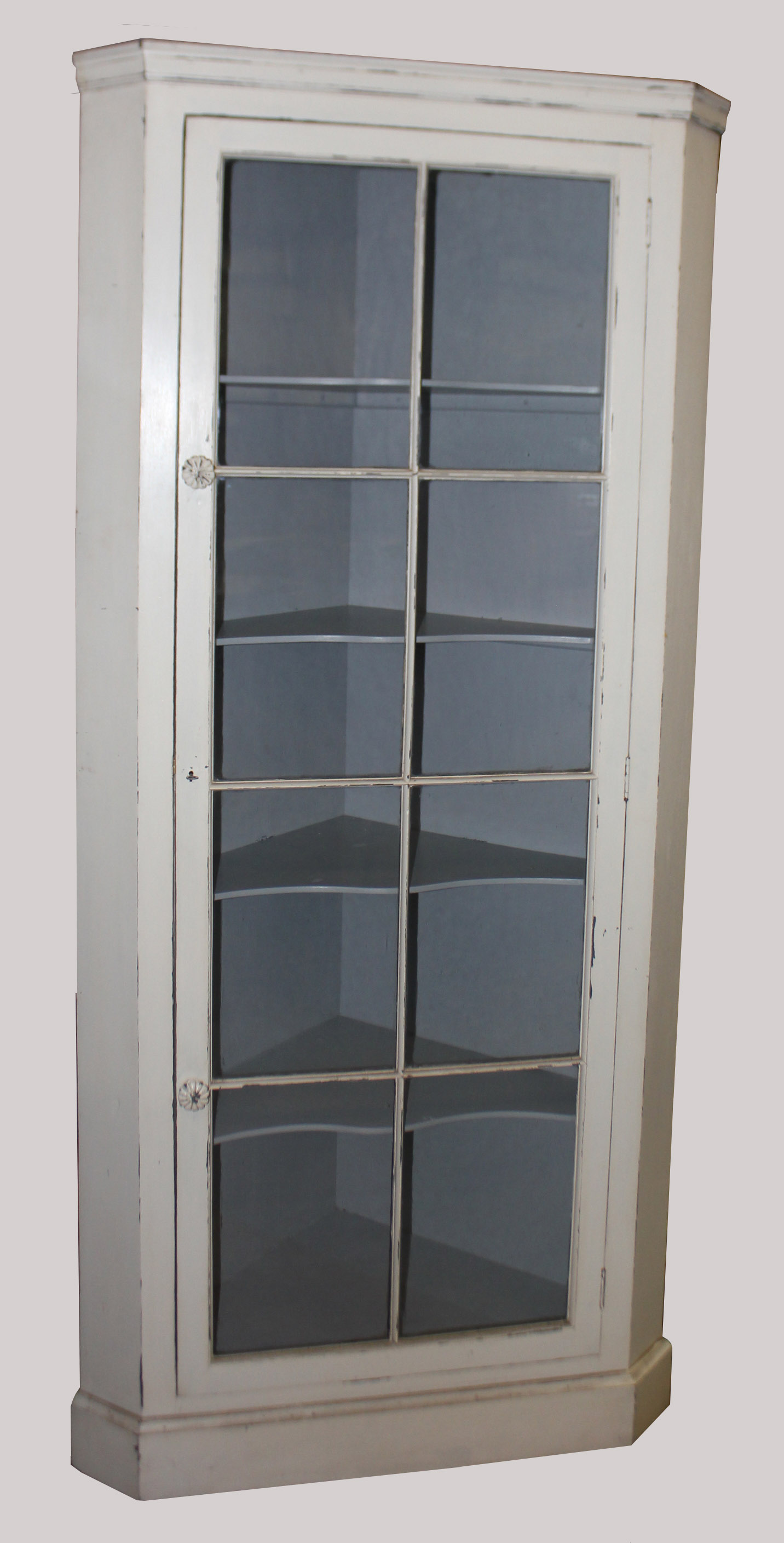 A 19th century white painted floor standing corner cabinet for Floor standing corner bathroom cabinet