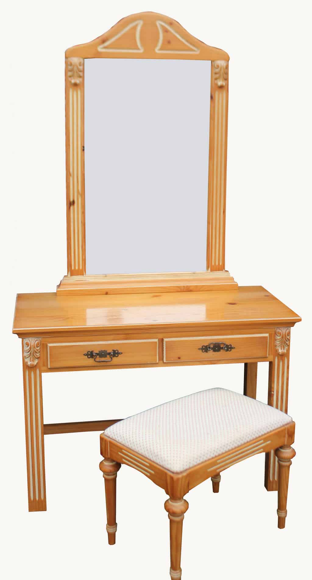 Dressing Table With Mirror And Stool: A Spanish Pine Dressing Table, Mirror And Stool
